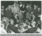 President F.L. Hovde playing bridge