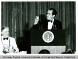 President Richard Nixon speaking at President Hovde retirement dinner