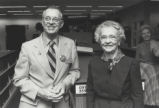 John S. Day and Esther Norton at dedication ceremony for John W. Hicks Undergraduate Library