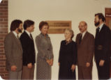 John Schmitt, Dana Smith, Roberta Kovac, Esther Norton, David Moses and Carl Snow at dedication ceremony