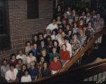 Purdue Libraries faculty and staff standing on steps in Hicks Undergraduate Library