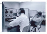 Students listening to audiotapes in Purdue Libraries, Audio Visual center