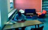 Student studying in Consumer and Family Sciences Library