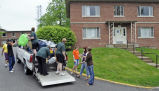 University Residences student workers moving furniture