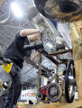 Kyle Hebner of Ferris State University prepares for Rube Goldberg Machine Competition