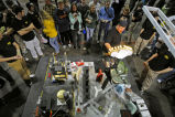 James Kryger of the University of Illinois with his machine during Rube Goldberg Machine...