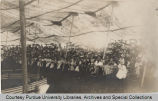 Inside view of spectators in circus tent